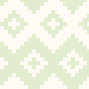 Boho geometric pattern light green off-white large scale