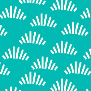 Brush strokes abstract fans teal