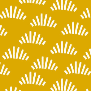 Brush strokes abstract fans gold yellow / mustard