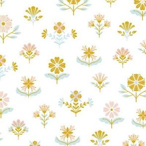 Folk flowers on white