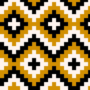Boho geometric pattern off-white gold mustard black large scale