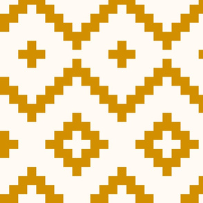 Boho geometric pattern off-white dark gold mustard large scale
