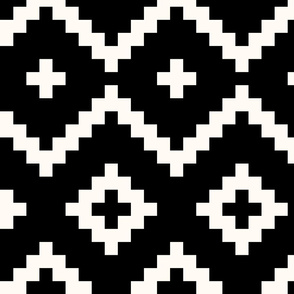 Boho geometric pattern black off-white large scale
