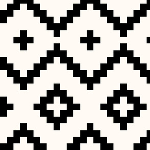 Boho geometric pattern off-white black large scale