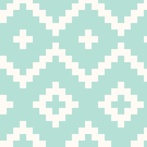 Boho geometric pattern mint off-white large scale