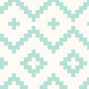 Boho geometric pattern off-white mint large scale