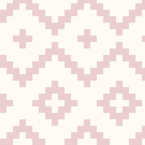 Boho geometric pattern off-white dusky pink large scale