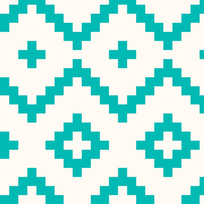 Boho geometric pattern off-white teal large scale