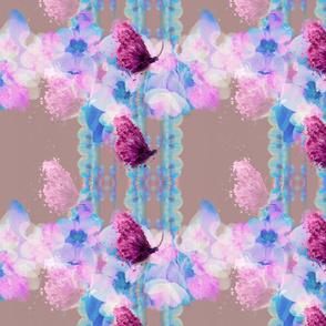 Aquarelle floral stripes, Butterflies