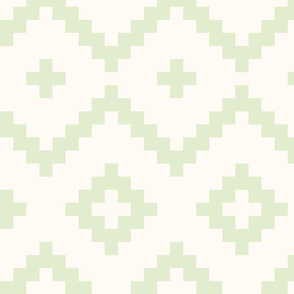 Boho geometric pattern off-white light green large scale