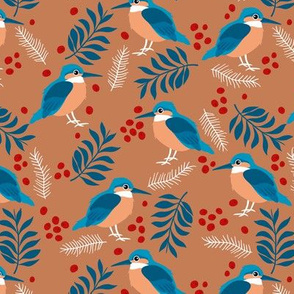 Little kingfisher bird winter wonderland wild garden rust caramel burnt orange blue