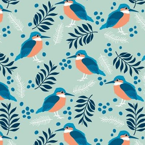 Little kingfisher bird winter wonderland wild garden soft mint green blue