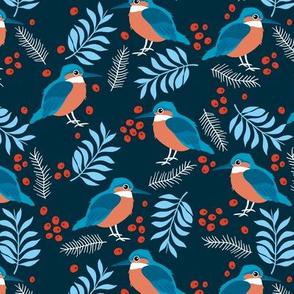 Little kingfisher bird winter wonderland wild garden night navy blue