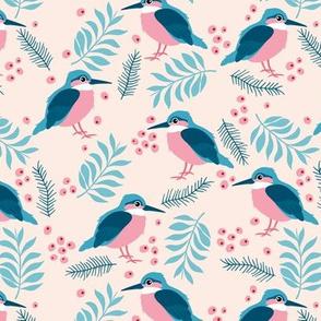 Little kingfisher bird winter wonderland wild garden blush pink blue girls
