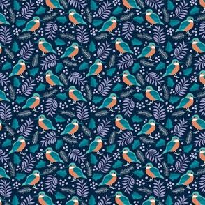 Little tiny kingfisher bird winter wonderland wild garden dark navy night blue lilac purple SMALL