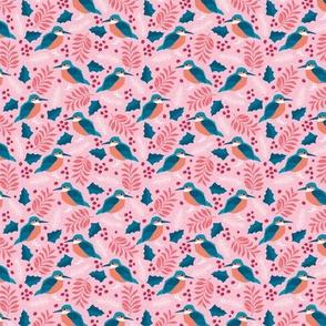 Little tiny kingfisher bird winter wonderland wild garden pink blue SMALL