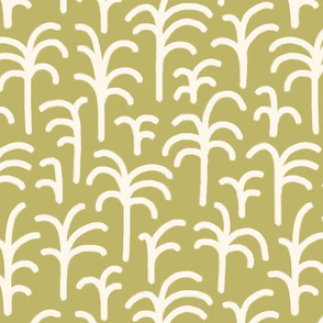 Abstract palm trees brush strokes off-white olive green