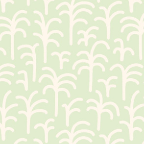 Abstract palm trees brush strokes off-white light green