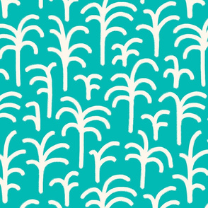 Abstract palm trees brush strokes off-white teal
