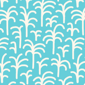 Abstract palm trees brush strokes off-white cyan