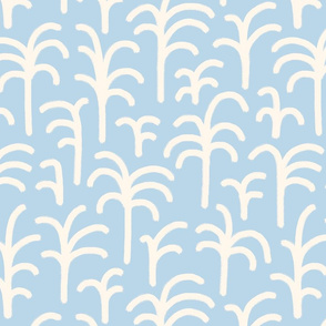 Abstract palm trees brush strokes off-white pastel blue