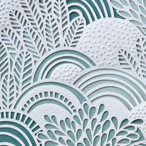 Paper Garden Pine Mint Large- Baby Boy- Nursery Decor- Home Decor- - Jumbo Scale Botanical Wallpaper