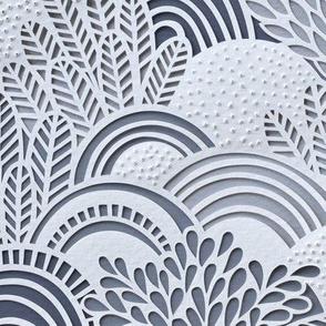 Paper Garden Slate Large Scale- Baby Boy- Nursery Decor- Home Decor- - Jumbo Scale Botanical Wallpaper