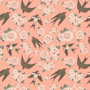 Swallows and peonies (smaller version)