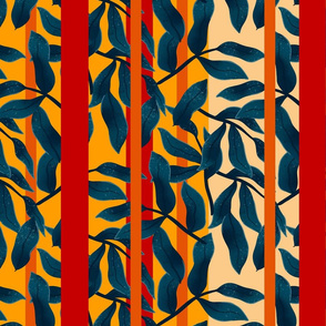 leaves on a red, orange background