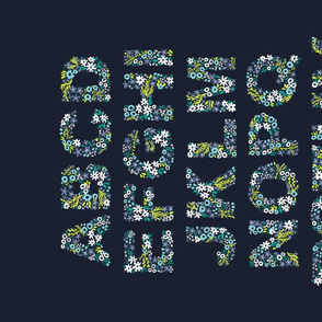 Rustic Floral Alphabet Tea Towel
