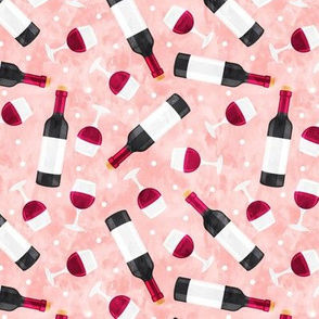Red wine - wine glasses and bottles - pink - LAD20