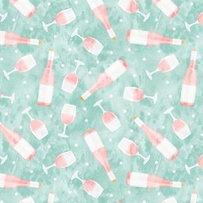 Rosé - wine glasses and bottles - pink on aqua - LAD20