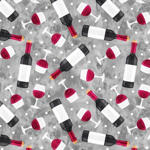 Red wine - wine glasses and bottles - grey - LAD20