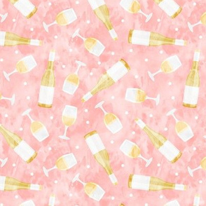 White wine - wine glasses and bottles - pink - LAD20