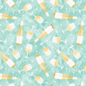 White wine - wine glasses and bottles - aqua - LAD20