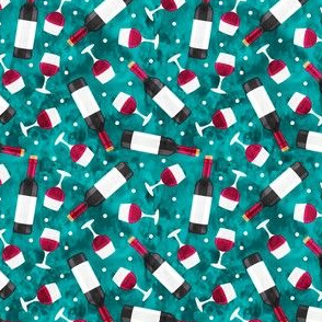 (small scale) Red wine - wine glasses and bottles - teal - LAD20