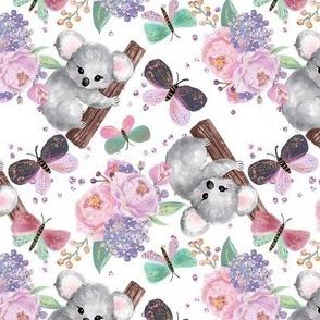 Springtime Koalas, Flowers, Butterflies // white