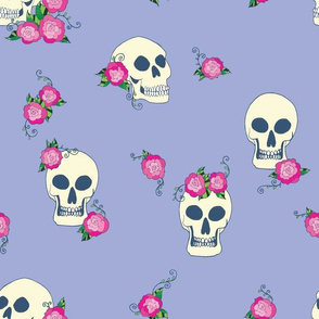 skulls and roses periwinkle