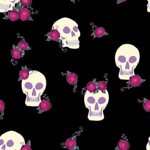 Skulls and Roses Black