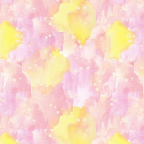 Pink lemonade painterly watercolour abstract in  pink and yellow
