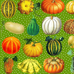 Pumpkins on grass green dots