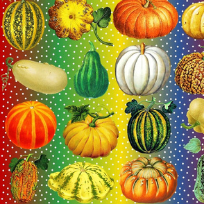 Pumpkins on rainbow dots