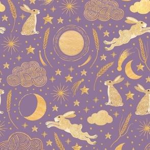 Harvest Moon Hares - Golden on mauve