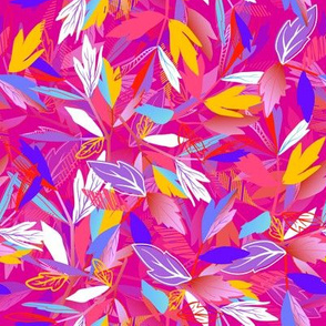 Pattern with colorful leaves