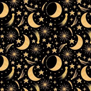 Night sky Gold on black