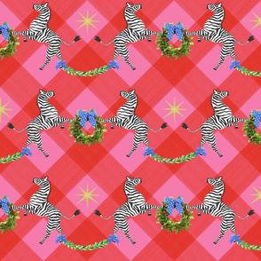 Medium Holiday Zebras with wreaths on Plaid