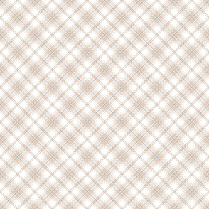 Small Beige and White Diagonal Plaid