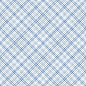 Blue and White Diagonal Plaid