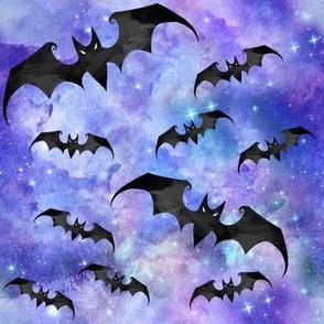 Halloween Bats On Purple Nebula