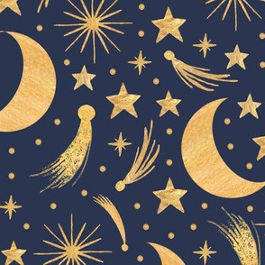 Night sky - Gold on indigo